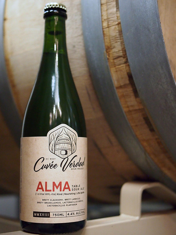 ALMA, Our table sour ale. Brewed with mixed fermentation with a variety of yeast strains. Foeder-aged and bottle-conditioned. 750ML 4.4% | $14 (no limits)