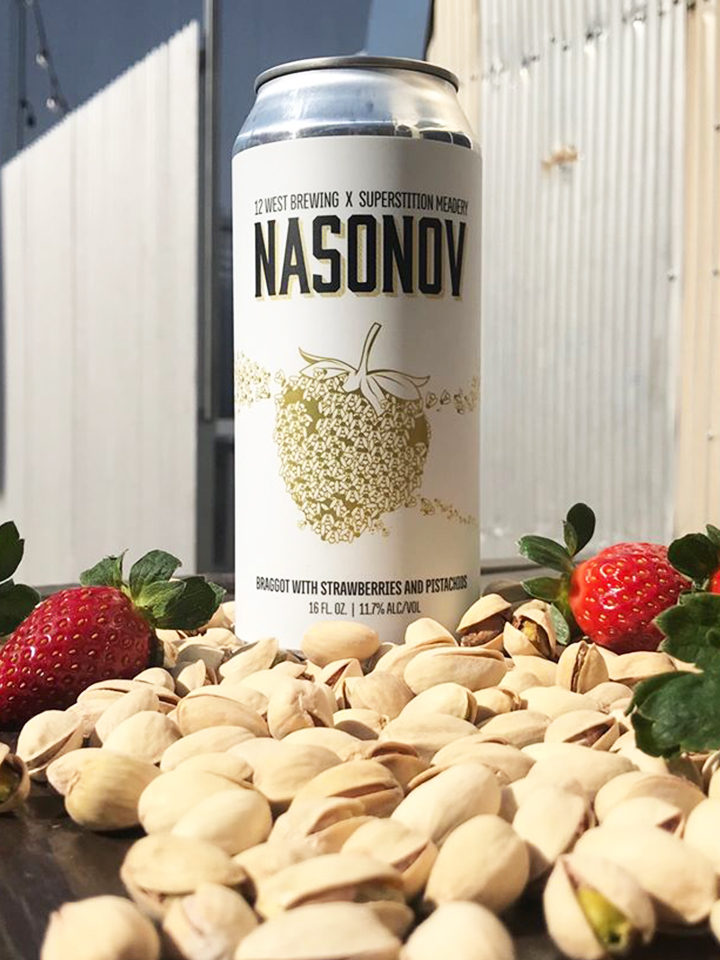A Braggot with with strawberries and Pistachios. Collaboration with Superstition Meadery. 11.7% ABV 16oz 4pack (no limits) $22